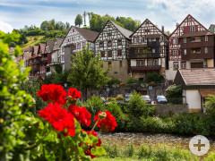Blick auf die Fachwerkhäuser in Schiltach